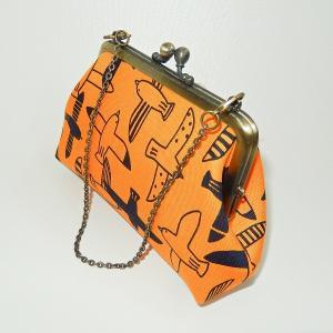 チェーン付がま口ポーチ 鳥|bag-tantan