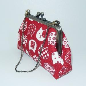 チェーン付がま口ポーチ 和柄猫|bag-tantan