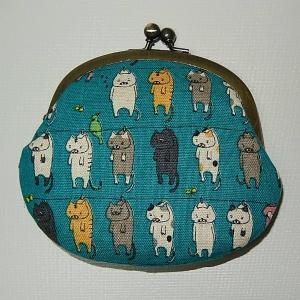 がま口 洗濯ネコ青|bag-tantan