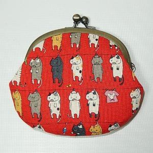 がま口 洗濯ネコ赤|bag-tantan