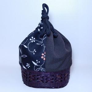 カゴ巾着 黒|bag-tantan