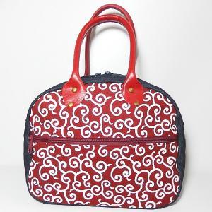 ラウンドバッグ 唐草 赤 bag-tantan