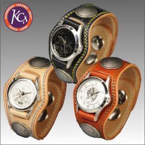 ケイシイズ KMR002-3コンチョ レザーブレスウォッチ ダブルステッチ KC's bagpacks
