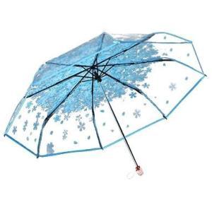 ビニール傘 折り畳み式 おしゃれで可愛い 花柄モチーフ 水色|bagus-co