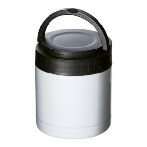 ステンレスフードポット ハンドル付 ホワイト  フードジャー 真空構造|bagus-co