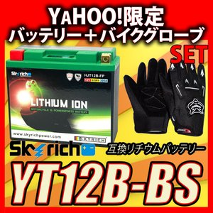 グローブ付!SKYRICHリチウムイオンバッテリー 互換 ユアサYT12B-BS YT12B-4 FT12B-4 GT12B-4 即使用可能|baikupatuhakase