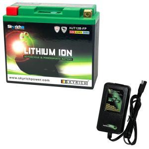 バイクバッテリー充電器セットSKYRICH【スカイリッチ専用充電器】+リチウムイオンバッテリー 互換 ユアサYT12B-BS YT12B-4 FT12B-4 GT12B-4  即使用可能|baikupatuhakase