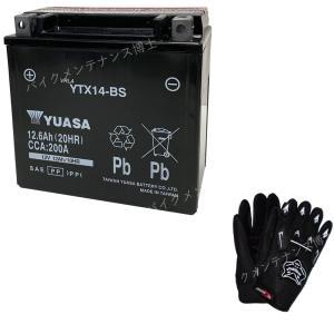 グローブ付! 台湾 YUASAユアサ YTX14-BS 互換 GTX14-BS FTX14-BS DTX14-BS XJR1200 ZZR1100 W650 ZX12-R 初期充電済 即使用可能|baikupatuhakase