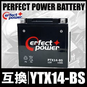 PERFECT POWER PTX14-BS バイクバッテリー充電済 互換 YTX14-BS GTX14-BS FTX14-BS DTX14-BS XJR1200 ZZR1100 W650 ZX12-R 初期充電済 即使用可能|baikupatuhakase