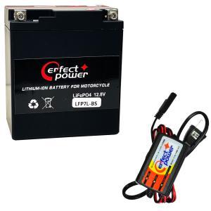 バイクバッテリー充電器セット ◆ PerfectPower充電器 + PERFECT POWER LFP7L-BS リチウムイオンバッテリー 互換 ユアサ YUASA YTX7L-BS FTX7L-BS 即使用可能|baikupatuhakase