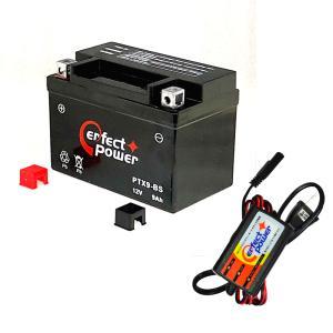 バイクバッテリー充電器セット ◆ PerfectPower充電器 + PERFECT POWER PTX9-BS 充電済 互換 YTX9-BS DTX9-BS FTX9-BS GTX9-BS 初期充電済 即利用可|baikupatuhakase