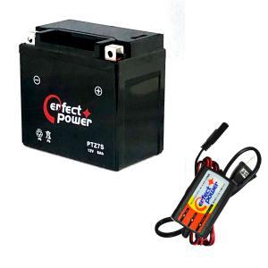 バイクバッテリー充電器セット ◆ PerfectPower充電器 + PERFECT POWER PTZ7S 充電済 互換 YTZ7S FTZ7S GT6B-3 FTZ5L-BS 初期充電済 即使用可能 baikupatuhakase