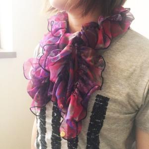 Ballett ペイズリー柄のシャーリングスカーフ ふんわりやわらか ワンタッチかんたん装着  日本製 ご家庭で洗濯可  ballett
