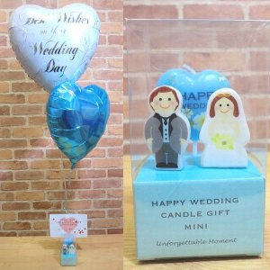 電報 結婚式 翌日 ハッピーウェディングキャンドルバルーンギフト 結婚祝い 入籍祝い プチギフト バルーン電報 キャンドル ローソク|balloon-shop