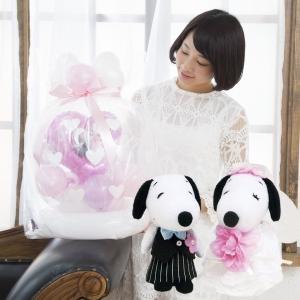 洋装スヌーピー&ベルたまごバルーン 結婚式 入籍祝 結婚記念日 電報 プロポーズ|balloon-shop