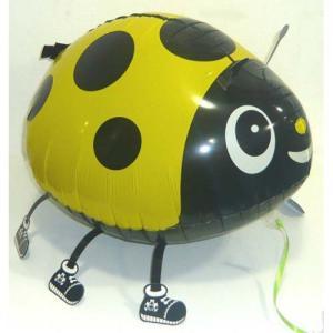 お散歩てんとう虫イエローヘリウムガスなし風船/フィルム風船/お散歩バルーン|balloons-pro