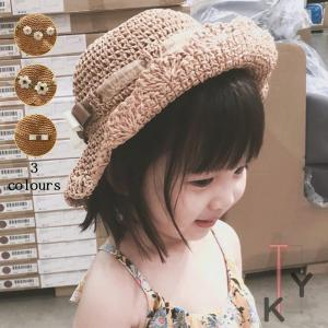 9d2a70d6824a9 麦わら帽子 キッズ UVカット 子供用帽子 花柄 日よけ対策 可愛い 麦わらつば広 熱さ対策 赤ちゃん あご紐付き