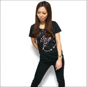 パンクロックTシャツ / イナズマーク ガールズUネックTシャツ -G- 半袖 レディース バンドTシャツ プリント かっこいい ブラック 黒|bambi|02