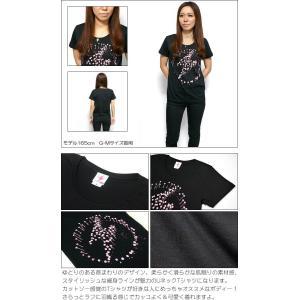パンクロックTシャツ / イナズマーク ガールズUネックTシャツ -G- 半袖 レディース バンドTシャツ プリント かっこいい ブラック 黒|bambi|04