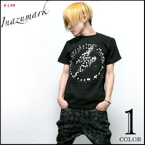 パンクロックTシャツ / イナズマーク Tシャツ (ブラック)-G- 半袖 バンドTシャツ ロゴtシャツ プリント かっこいい 春夏 黒|bambi