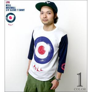 ROLL ( ロール ) 3/4スリーブ ベースボールTシャツ -G- ターゲット モッズ ロック アメカジ アナログ盤 7分袖 メンズ レディース|bambi