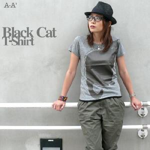 黒猫(Black Cat)トライブレンド Tシャツ【A-A'(エーエーダッシュ)】aa002trb【A】|bambi
