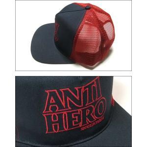 ANTIHERO BLACKHERO OUTLINE スナップバック (ネイビー×レッド)- アンタイヒーロー -G- キャップ CAP 帽子 ロゴマーク スケートブランド ハードコア bambi 02