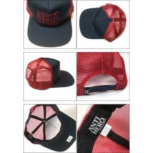 ANTIHERO BLACKHERO OUTLINE スナップバック (ネイビー×レッド)- アンタイヒーロー -G- キャップ CAP 帽子 ロゴマーク スケートブランド ハードコア bambi 03