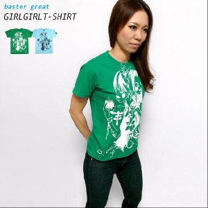 ガールガール Tシャツ  -G- 半袖 イラスト コラボTシャツ かわいい ブルー グリーン 青 緑|bambi