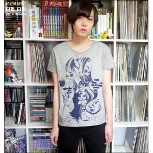 ガールガール UネックTシャツ (ガールズ) -G- 半袖 カットソー イラスト かわいい カジュアル プリントTシャツ|bambi
