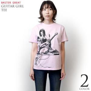 2weekセール!! ギターガール Tシャツ (ライトピンク) -G- ロックTシャツ ROCK ガールズバンド ギタリスト イラスト 大きいサイズあり 半袖 桃色|bambi