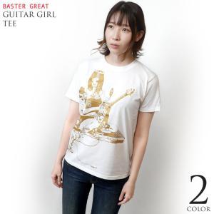2weekセール!! ギターガール Tシャツ (ホワイト) -G- ロックTシャツ ROCK ガールズバンド ギタリスト イラスト 大きいサイズあり 半袖 桃色|bambi