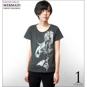 マーメイド(Mermaid)UネックTシャツ (ガールズ) -G- 半袖 カットソー イラスト かわいい カジュアル プリント|bambi