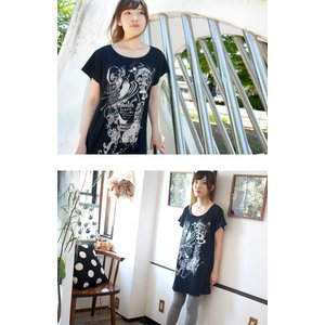 小悪魔ガール Tシャツワンピース -G- ワンピTシャツ 半袖 コアクマ イラスト オリジナル プリント かわいい ファッション|bambi|02