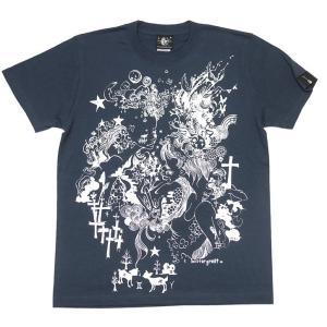 双子座ガール Tシャツ (スレート) -G- ふたご座 ジェミニ 星座 ブルー 紺色 可愛い カジュアル 半袖|bambi