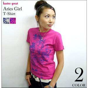牡羊座ガール ( Aries Girl ) Tシャツ -G- おひつじ座 アリエス 星座 神話 星占 イラスト 半袖Tee -|bambi