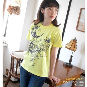 蠍座ガール (Scorpio Girl) Tシャツ (ライトイエロー) -G- サソリ さそり座 星座 カジュアル かわいい 黄色 半袖|bambi