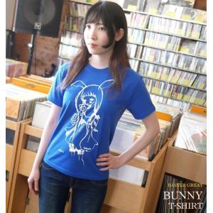バニー Tシャツ (ロイヤルブルー) -G- 可愛いイラスト うさみみ 女の子 コラボ 青色 半袖 bambi