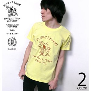 FUNKY LEMON FOOTBALL Tシャツ (ライトイエロー)-G- 半袖 黄色 レモン フットボール ラグビー イラスト キャラ|bambi