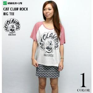 CAT CLAW ROCK(キャット クロー ロック)ラグラン ガールズ ビックTシャツ -G-( コラボ ネコ 猫 アナログ盤 アメカジ 半袖Tee )|bambi