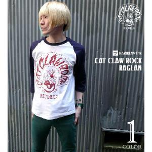 CAT CLAW ROCK(キャット クロー ロック)ラグランスリーブ (ホワイト×ネイビー)  -G- コラボ ネコ 猫 レコード アメカジ 7分袖 七分袖|bambi