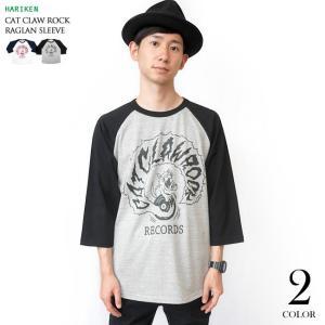 CAT CLAW ROCK(キャット クロー ロック)ラグランスリーブ (ミックスグレー×ブラック袖) -G- ネコ 猫 レコード アメカジ 7分袖 七分袖|bambi|02