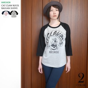 CAT CLAW ROCK(キャット クロー ロック)ラグランスリーブ (ミックスグレー×ブラック袖) -G- ネコ 猫 レコード アメカジ 7分袖 七分袖|bambi|06