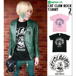 ロックTシャツ / CAT CLAW ROCK(キャット クロー ロック)Tシャツ -HARIKEN-G- ネコ 猫 かっこい バンド レコード コラボT 大きいサイズ 半袖|bambi