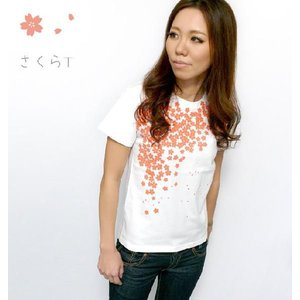 さくら Tシャツ -G- サクラ 桜 桜色 和柄 花柄 きれいめ かわいい おしゃれ ホワイト シロT 半袖|bambi