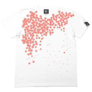 さくら Tシャツ (桜色) -G- サクラ 桜 和柄 花柄 春コーデ きれいめ かわいい ホワイト 白T 半袖 男女兼用|bambi|03