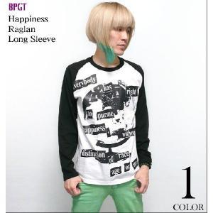 10daysセール☆ Happiness(ハピネス)ラグランロングスリーブ -G- 長袖 ロンT パンク ロックTシャツ メッセージ メンズ レディース|bambi