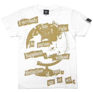 Happiness(ハピネス)Tシャツ (ホワイト)-G- 半袖 白色 地球儀 パンクロックTee カジュアル アメカジ メッセージ|bambi|04