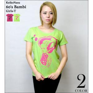 60's Bambi ガールズ UネックTシャツ -G- 半袖 カットソー レディース バンビ かわいい おしゃれ モッズ プリント コラボ|bambi