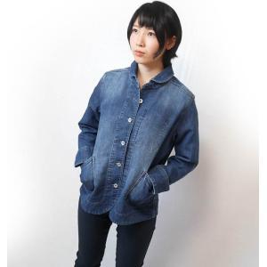 ニットデニム 丸襟ジャケット ( ネイビー )-R- トップス JKT ライトアウター カジュアル アメカジ 紺色 長袖|bambi